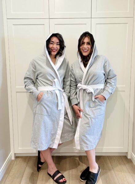Megan & Nikki in an espy The Label cotton robes